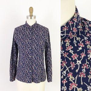 Vintage Button Up Navy Floral Blouse Cotton 70s XS